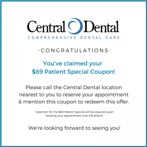 $89 Patient Special, Appointment, Coupon, Central Dental, Little Rock, Arkansas, Affordable, Dentist